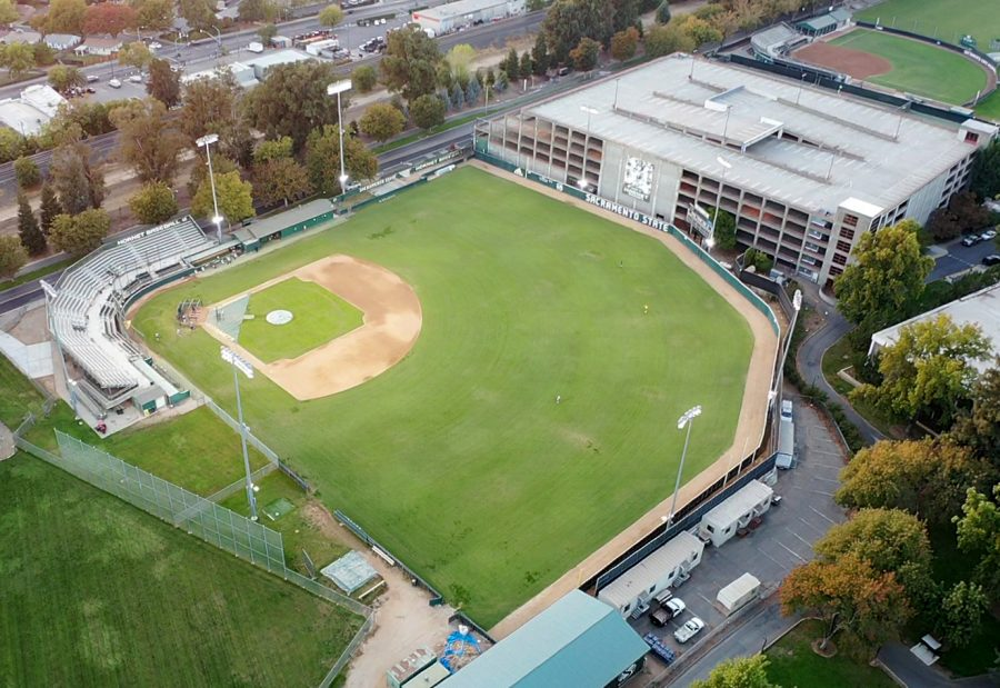 FILE PHOTO: A sky view shows John Smith Field at Sacramento State from above Oct. 28, 2020. Sac State will allow up to 100 attendees at outdoor ticketed events starting April 1.