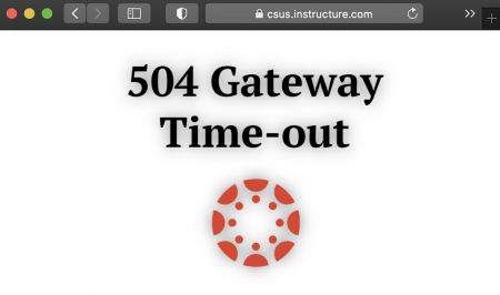 A photo illustration depicts a 504 gateway error message that displayed for students and faculty trying to access Canvas, Sac State's cloud based instruction and content management system on Wednesday, March 3, 2021. Canvas crashed when too many people were trying to access the website at once according to Mark Hendricks, interim vice president & chief information officer for Sac State Information Resources & Technology.  Graphic created in Canva.