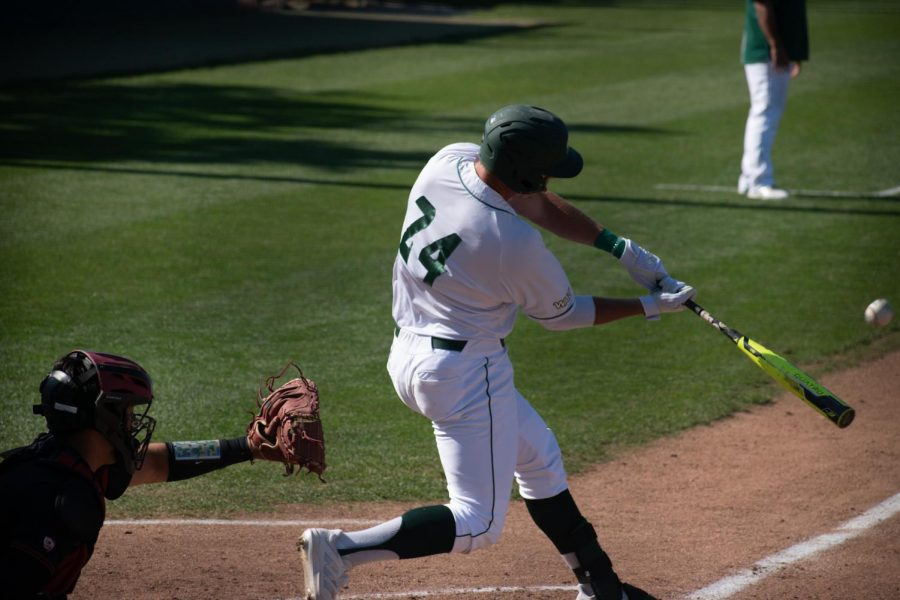 Senior outfielder Matt Smith connects with the ball during the home game against Stanford University at John Smith Field on Monday March 29, 2020. Smith drove in all three runs on Monday in the comeback win.