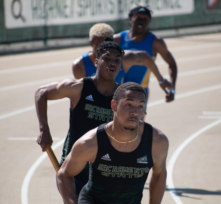 Devonn Johnson and teammate keep the lead on San Jose State at Sacramento State's Hornet Invitational at Hornet Stadium on Saturday March 20, 2021. Sacramento State's relay team placed second against San Jose.