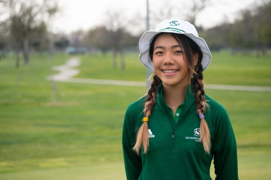 Freshman+golfer+Jennifer+Koga+poses+for+a+photo+at+Haggin+Oaks+Golf+Complex+on+Wednesday%2C+March+17%2C+2021.+Koga+tied+for+fifth+at+the+Gunrock+Invitational+after+scoring+a+68.%0A