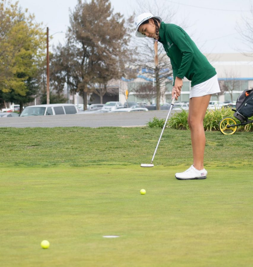 Sac State freshman Jennifer Koga practices putting at Haggin Oaks Golf Complex on Wednesday, March 17, 2020. Koga tied for third individually at the Juli Inkster Meadow Club Invitational.