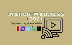 The State Hornet's 2021 March Madness picks for most binge-worthy TV shows. Categories were made up from streaming services like Netflix, HBO Max, Disney+ and more. Graphic made in Canva.