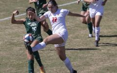 Sacramento State senior Tiffany Miras (10) battles with Eastern Washington's Brittany Delridge (22) for possession of the ball during the second half of the conference game against Eastern Washington University at Hornet Soccer Field at Sac State on Sunday, March 20, 2021. Miras had one yellow card in the game.