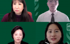 (Left to right) Jeannie Wong, Chi Vang, Seunghee Wie and Yee Thao spoke about the surge of anti-Asian attacks at Sac State's virtual Stop AAPI Hate event on March 30. This event comes after the mass shooting in Atlanta on March 16 that killed 6 Asian women, which also provoked national dialogue about anti-Asian racism. Screenshots by Emma Hall.