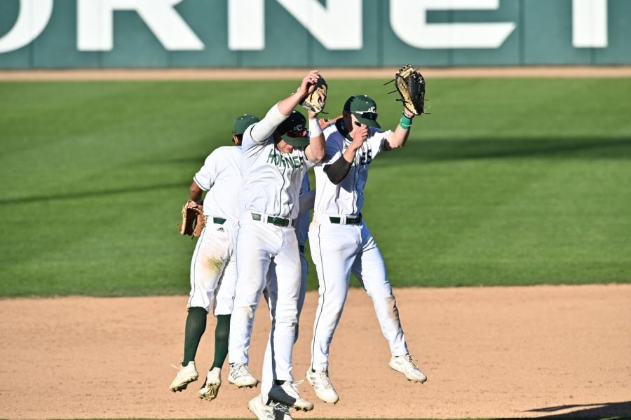 From+left+to+right%2C+Sac+State+baseball+players+Keith+Torres%2C+Steven+Moretto%2C+Ryan+Walstad+celebrate+the+Hornets%E2%80%99+win+against+Dixie+State+on+Friday+at+John+Smith+Field.+%0A