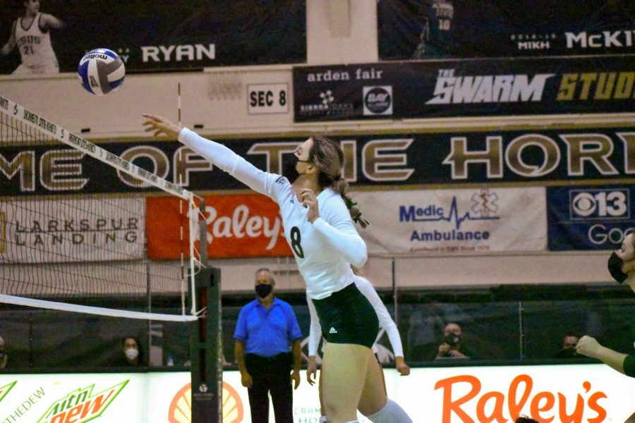 Outside hitter, Bridgette Smith, spiking the ball to Eastern Washington during the second set and getting a kill during the first of 2 games against Eastern Washington at the Nest at Sac State Saturday, March 5, 2021. The score for the second set was a winning score of 25-17.