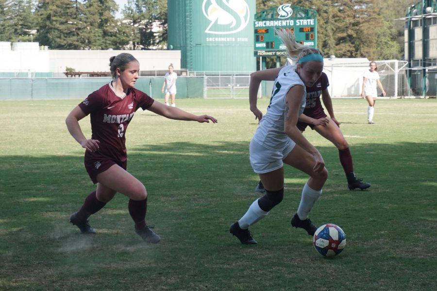 Senior midfielder Samantha Craig takes a swift turn toward the ball, with only six seconds left in the first half of the Hornet's home game against Montana on Friday, April 2. Sac State lost the game in overtime with a final score of 1-0.