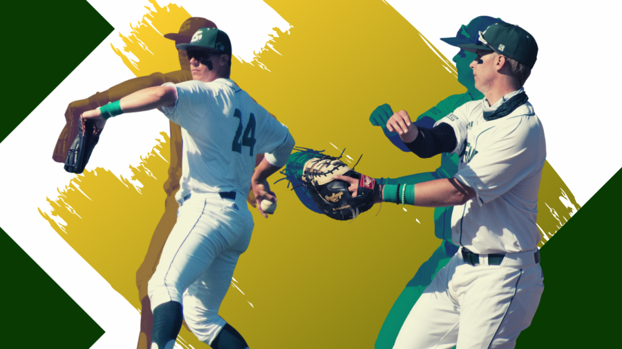 +Matt+Smith+and+Ryan+Walstad+fielding+for+the+Hornets+at+John+Smith+Field.+Smith+and+Walstad+are+first+and+second+on+the+team+in+batting+average.+%28Photos+by+Deanna+Sanchez.%29%0A%0A