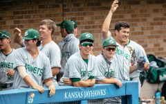 Sac State baseball's dugout during a loss against Kansas University at Hoglund Ballpark on Wednesday, April 28, 2021. The Hornets split their two-game series versus the BIG 12 opponent as they head home to take on Grand Canyon University. Photo courtesy of the University Daily Kansan.