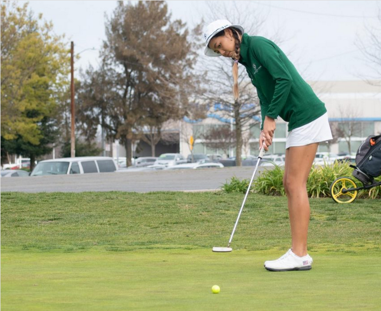 Sac+State+freshman+Jennifer+Koga+practices+putting+at+Haggin+Oaks+Golf+Complex+on+March+17%2C+2020.+Koga+was+%2B18+for+the+Big+Sky+Tournament+but+had+a+much-improved+final+round%2C+shooting+a+4-over+76+and+helping+the+Hornets+clinch+the+Big+Sky+Conference+Championship.+