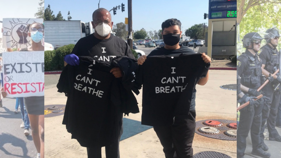 Robert Gonzalez stands next to a t-shirt seller at a gas station during a George Floyd Protest in Fontana, California on Wednesday, May 27, 2020. Gonzalez said he was shocked by the results of the Derek Chauvin trial. Background photos taken by Ian Ratliff (left) and Sara Nevis (right).
