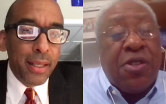 Sacramento State's only Black professor in the college of business administration, David Moore (left), and political science professor Robert Oden (right) speak at a teach-in on systemic racism in higher education for the California Faculty Association on Tuesday, April 27, 2021. At the virtual event, Oden said President Robert Nelsen was negligent in not sanctioning the professor, Sanjay Varshney, for what he did to David Moore. Screenshot taken via Zoom.