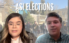 (Left to right) Samantha Elizalde and Michael Beller are both running to be Associated Students, Inc. President for the 2021-2022 school year. Voting in ASI elections takes place April 7 and 8 on the ASI website. Background photo by Shaun Holkko. Candidate photos by Michael Pacheco.