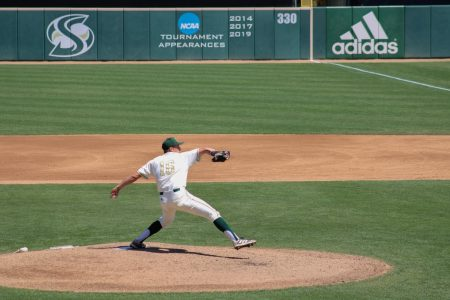 Sac State baseball player second year Ryan Tinsley pitches the ball during the game against Seattle University on Sunday, April 18, 2021. Sac State won the game by the score of 11-4.
