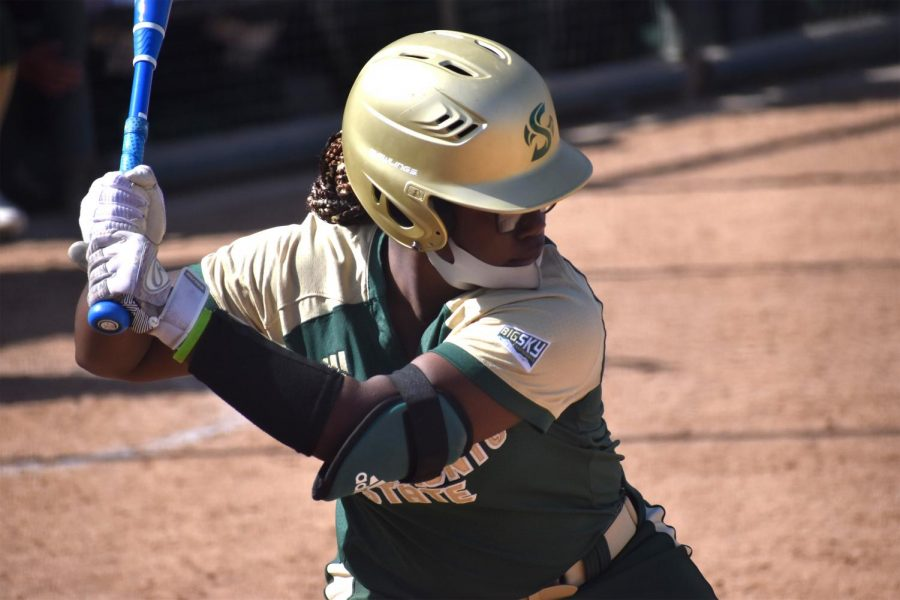 Lewa Day gets ready for a pitch from Santa Clara University during the Capital Classic at the Shea Stadium at Sacramento State on March 5, 2021. Lewa Day is a third base player for the Hornets softball team.