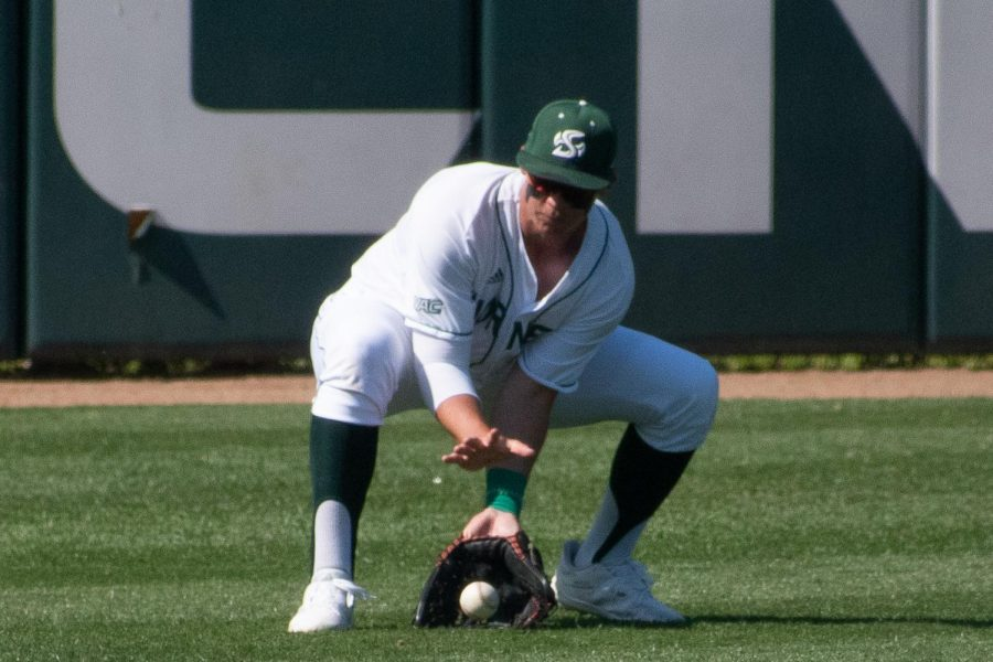 Matt Smith fielding a ball in left field against New Mexico State last Friday, the 9th at John Smith Field. Smith had a walkoff hit last month versus the Stanford Cardinals.