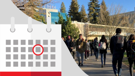 Sacramento State released their official reopening schedule for fall 2021 via a SacSend email by President Robert Nelsen on Monday. According to the schedule, all those returning to campus must be approved through OnBase and have an approved safety plan. Graphic created in Canva/Photo by Shaun Holkko.