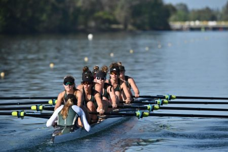 The Sac State women's rowing team compete in a doubles race against Saint Mary's College on April 10, 2021. That was the teams first competition in over a year due to the COVID-19 pandemic. Photo courtesy of Hornet Athletics/Photo by Bob Solorio