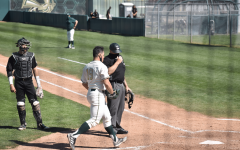 (File photo) Martin Vincelli-Simard crosses home plate following a home run against Texas State on February 28, 2021. The Hornets split their series against California Baptist University despite hitting six home runs over the weekend.