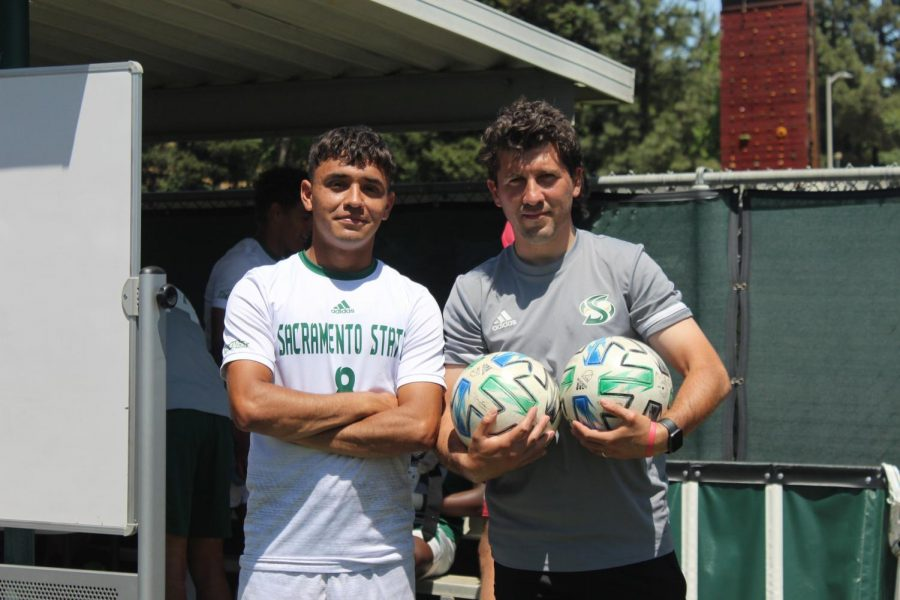 Sophomore midfielder Axel Ramirez (left) and assistant coach Pedro Lupercio (right) at Hornet Field after the spring exhibition game on May 8, 2020. Ramirez said the team was excited to finally get back on the field after a year and a half of no games.