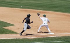 Senior Ryan Walstad receives a ball at first base in the Hornets' home game against Grand Canyon University on Sunday, May 2, 2021. In five at bats, Walstad claimed all three of Sac State's RBIs during the game.
