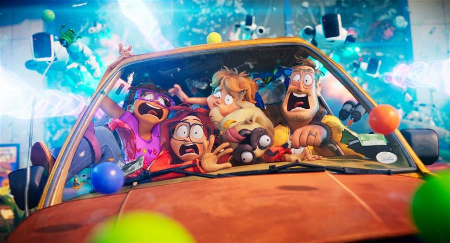 "The titular Mitchell family from ""The Mitchells vs. The Machines"". From left to right, Linda, voiced by Maya Rudolph, Katie, voiced by Abbi Jacobson, Aaron, voiced by Michael Rianda, Monchi, voiced by Doug the Pug, and Rick, voiced by Danny McBride. Photo courtesy of Netflix."