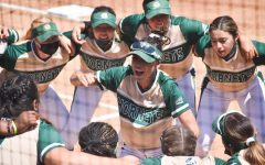 Charizma Guzman pumps up her team before the start of the last of three games against Idaho State at Shea Stadium at Sacramento State on Saturday May 1, 2021. The Hornets dropped 2-of-3 from the Bengals over the weekend.