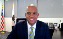 Chet Madison Jr. speaks at a virtual town hall discussing his candidacy for Sacramento State Chief of Police on May 20, 2021. Madison was announced as the new chief of the Sacramento State Police Department on Tuesday, according to Vice President for Administration and Chief Financial Officer Jonathan Bowman. Photo taken via Zoom by Alec Ramey.