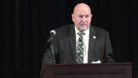 Sacramento State President Robert Nelsen speaks about COVID-19 safety protocols on campus and the new anti-racism campus plan in his fall address on Aug. 25, 2021. As of last week, 48% of students and 40% faculty have certified their vaccination status, according to Nelsen. Photo taken via Zoom by Camryn Dadey.