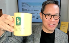 Richard Lui shows off his Sac State coffee mug during the Zoom webinar for APIDAs in the arts and entertainment industry on Sept. 17, 2021. He was chosen as a speaker because of his reputation as the first Asian American male to anchor a daily national news broadcast. (Screenshot: Zachary Cimaglio via Zoom)