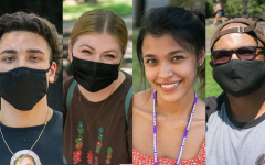 Left to right: Tyler Eick, Emma Pike, Dez Vela and Robert Jackson, along with many other Sacramento State students, returned to campus this semesterfor the first time since March 2020. While some are still cautious due to the pandemic, most say they are eager to return to in-person learning.