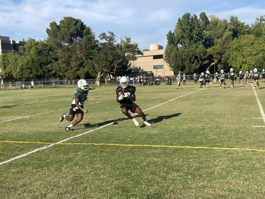 Sophomore safety Davion Ross (24) closes in on a tackle against Cameron Broussard during practice on Sept. 23, 2021. The Hornets prepare for their first Big Sky match of the season against Idaho State.