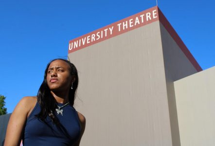 Aladria Brown stands outside of the university theater on Saturday, May 8, 2021. As ASI's next director of arts and letters, she plans to collaborate with all departments and bring new ideas to Sac State.
