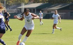 Senior forward Tiffany Miras dribbles through defenders Sunday, Sept. 4, 2021, at Hornet Soccer Field. The Hornets dominated the University of Nevada, Reno Wolfpack in a 3-0 win after coming to life offensively in the second half.
