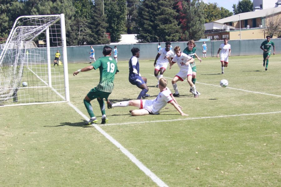 The Hornets fail to convert a goal scoring opportunity as sophomore defender Genaro Alfaro watches his pass get interrupted against Saint Marys College on Sunday, Sept. 19, 2021. The Hornets lost 1-0 for the third time this season.