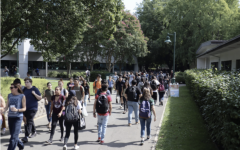 (File photo) Sacramento State students walking on campus by Mendocino Hall in September 2019. 4,306 Sac State students failed to meet the Sept. 13 deadline to self-certify their COVID-19 vaccination status, according to an email from Vice President of Student Affairs Ed Mills.