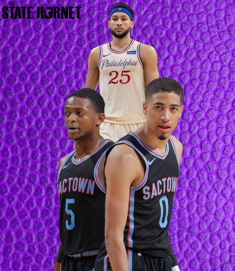Credit for Ben Simmons Photo: Mitchell Leff/Getty Images. Credit for De'Aaron Fox and Tyrese Haliburton Photo: Rocky Widner/NBAE via Getty Images. Graphic made by Jordan Latimore.
