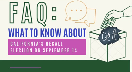 California's gubernatorial recall election will take place on Sept. 14. Voters will decide if Gov. Gavin Newsom will be removed from office or finish out his term, which ends Jan. 2, 2023. Graphic by Anh Nguyen in Canva.