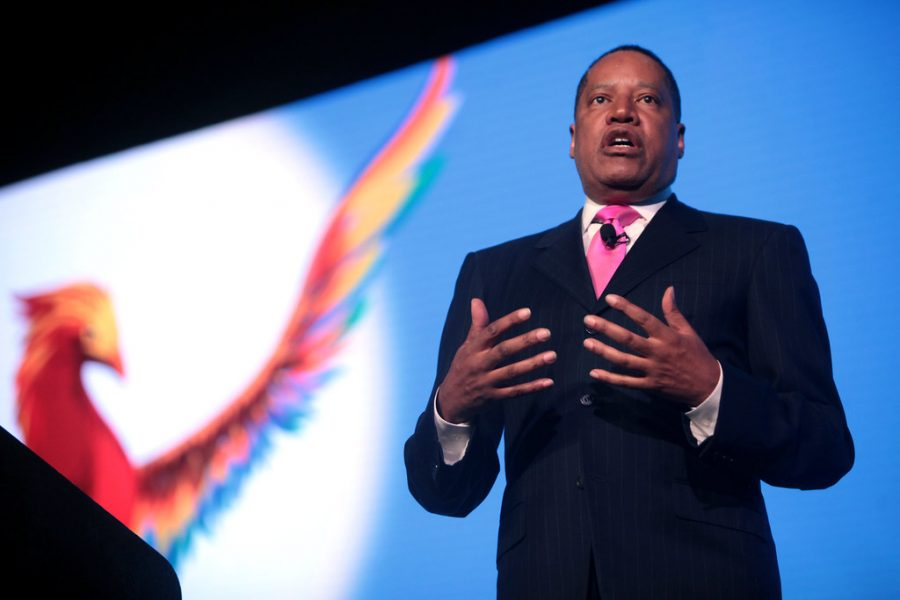 """The State Hornet's copy editor Alex Muegge said Larry Elder's decision to make the """"L"""" in his surname the shape of the state of California for his campaign logo is an insult to Californians everywhere."""