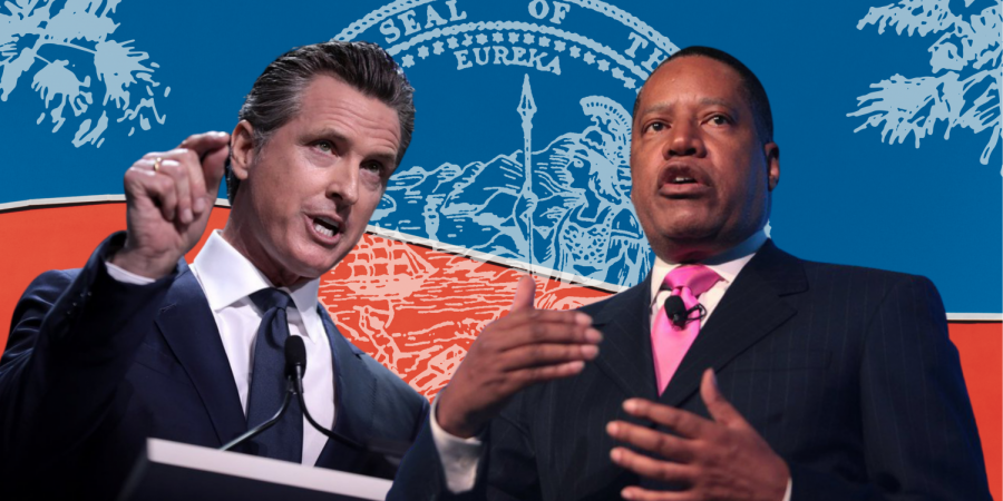 California faces a gubernatorial recall election that decides the fate of Gov. Gavin Newsom on Tuesday, Sept. 14, 2021. Photo of Gavin Newsom (left) by Gage Skidmore is licensed under CC BY-SA 2.0 and photo of Larry Elder (right) by Gage Skidmore is licensed under CC BY-SA 2.0 Graphic created in Canva by Mercy Sosa.