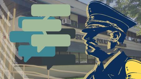 Estudiantes y organizaciones en Sacramento State tienen sus propias ideas en como el nuevo jefe de policía del campus Chet Madison y la policía de un entero pueden trabajar a lo mejor para servir la comunidad. Freshman Ryan Sorenson, quien está enfocando su carrera en justicia criminal, dijo que ella cree que la policía debe enfocar en prevenir acoso sexual y asalto en el campus. Foto del fondo tomada por Mercy Sosa. Gráfico creado en Canva por Mercy Sosa.