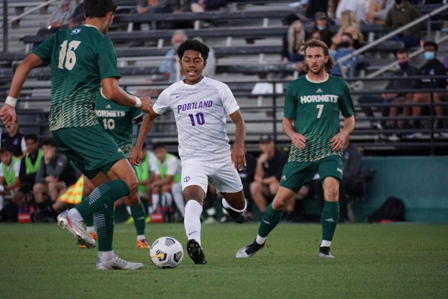 Senior forward Matthew Korpontinos (right) surveys the play as freshman defender Alejandro Padilla (left) defends the play against University of Portland on Monday, Sept.13, 2021. The Hornets picked up their second win of the season Thursday night with a 2-0 victory over University of the Pacific.