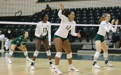 Sac State volleyball lines up in its first set against the Northern Arizona Lumberjacks on Oct. 7, 2021. The Hornets lost in three sets in their first home game after a two-game victory streak on the road.
