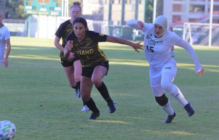 Freshman forward Danna Restom battling with an Idaho defender Friday, Oct. 8, 2021 at Hornet Field. The Hornets defeated the Idaho Vandals Friday for their first Big Sky win of the season.