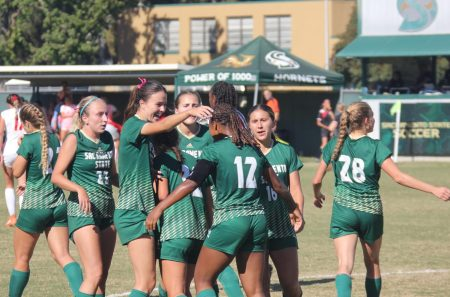 Sac State celebrates after senior forward Ele Avery scored the Hornets fourth goal of the match on Sunday, Oct. 10, 2021, at Hornet Field. Sac State defeated Eastern Washington 4-2 for their second Big Sky win on the season.