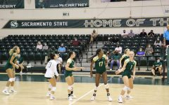 The Sacramento State women's volleyball team plays against CSU Northridge in the Sacramento State invitational tournament on Sept. 10, 2021. The team won their first Big Sky Conference game of the season on the road against Eastern Washington.