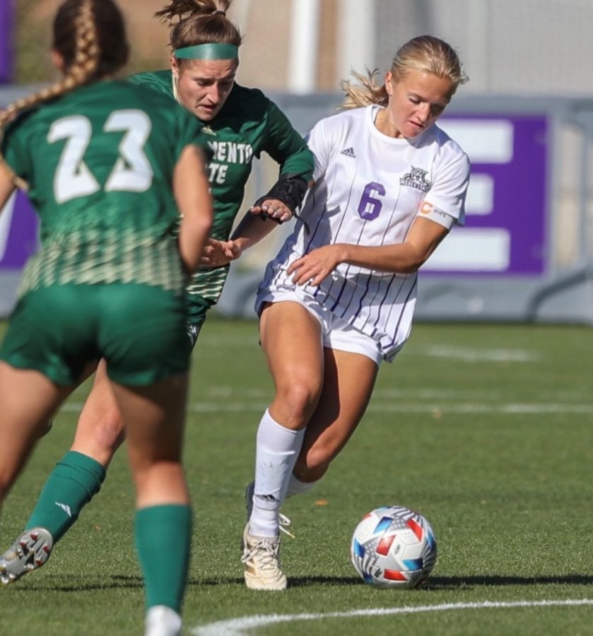 Sophomore forward Jordan Goularte battling for possession against a Weber State midfielder on Friday, Oct. 15, 2021 at Stewart Stadium. The Hornets were blown out 3-0 against Weber State and remain winless on the road this season