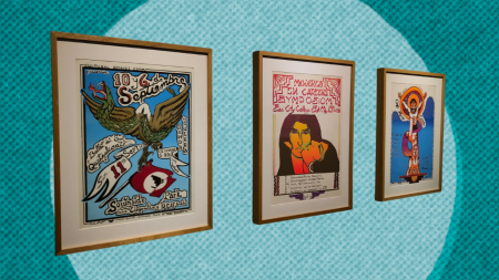 Posters from the Royal Chicano Air Force art collective hang in the Collections & Collaborations exhibit on Sept. 30, 2021. Art history and printmaking students referenced the posters from the university's archives to create works based on their own ephemera. Photo of the posters taken by Marin Perego. Graphic created in Canva.