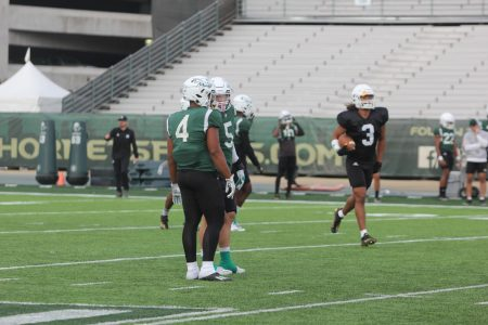 Senior linebacker Taylor Powell (4) and senior linebacker Marcus Hawkins (5) communicate between plays on Oct. 19, 2021, at Hornet Stadium. Hawkins and Powell have combined for 82 tackles total on the season Author: Brandon Bailey